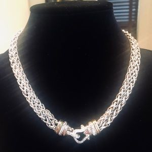 David Yurman Diamond Silver Gold Buckle Necklace